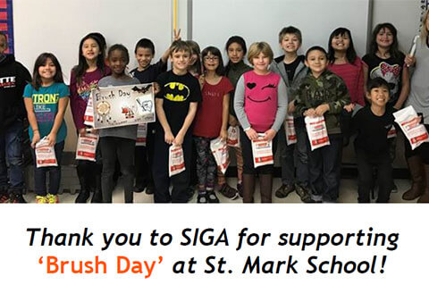 Thank you SIGA for supporting 'Brush Day' at St. Mark School