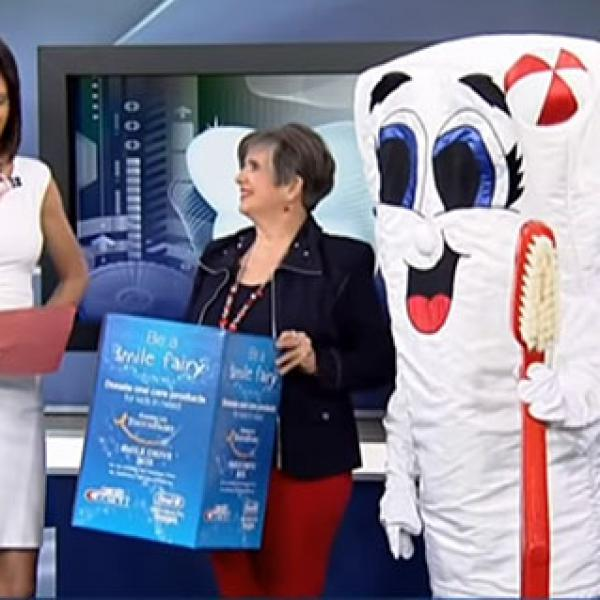Leslie Topola at Global News promoting Saskatoon Smile Drive May 2015
